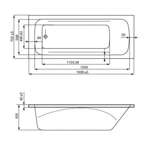 схема Акриловая ванна Jika Clavis 170x70