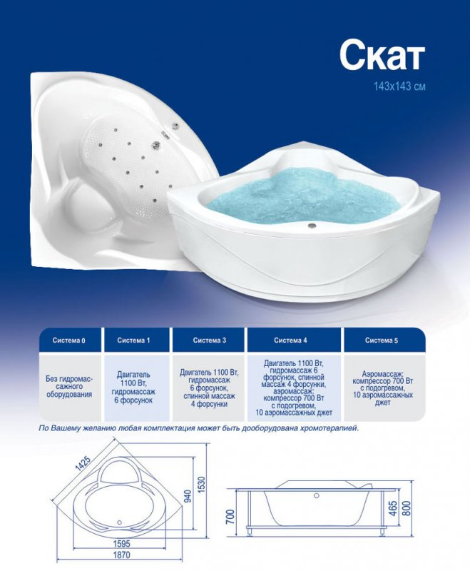 Акриловая ванна Bach Скат 143х143