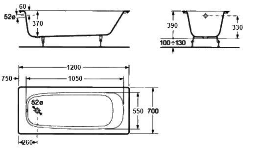 схема Roca Continental 120x70